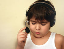 A boy with headphones Royalty Free Stock Photography