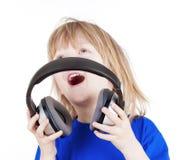 Boy with headphones Royalty Free Stock Photos