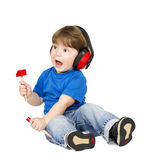 Boy with headphones. Royalty Free Stock Images