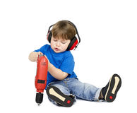 Boy with headphones. Royalty Free Stock Image