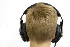 Boy with Headphones. Enjoying the sound of silence Stock Photography