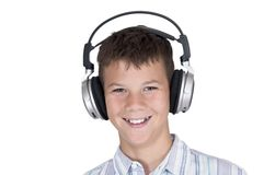 Boy with headphones with clipping path Royalty Free Stock Image