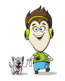 Boy in headphones with a dog Royalty Free Stock Photos