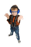 Boy with headphones and glasses Stock Images