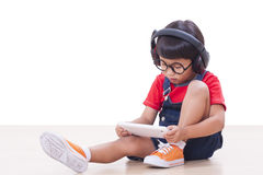 Boy with headphones Royalty Free Stock Images