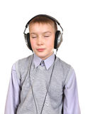 Boy in Headphones Stock Images