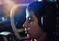 Boy with headphones Stock Photo