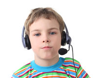 Boy with headphones and microphone Stock Images