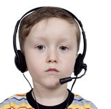 Boy with headphones with microphone Stock Images