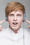 Boy in headphones Royalty Free Stock Images