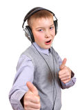 Boy in Headphones Stock Image
