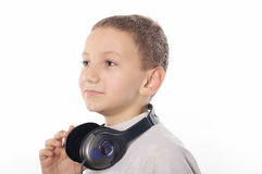 Boy with headphones. On white background Stock Photos