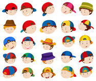 Boy heads with facial expressions Stock Photography