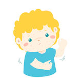 Boy with health problem allergy rash itching. Boy with health problem allergy rash itching Stock Image