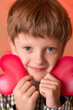 Boy with a heart in his hands Stock Photos