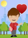 Boy With Heart Shaped Balloon Royalty Free Stock Image