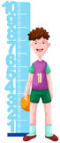 Boy with height scale Royalty Free Stock Image