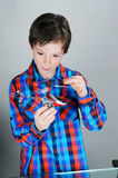 Boy with helicopter Royalty Free Stock Images