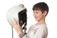 Boy with helmet Royalty Free Stock Images