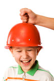 The boy in a helmet Royalty Free Stock Image