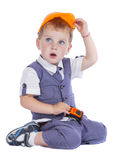 Boy in helmet builder Royalty Free Stock Photos