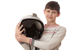 Boy with helmet isolated on white Stock Image