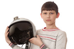 Boy with helmet isolated on white Royalty Free Stock Image