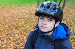 Boy with helmet Stock Photos