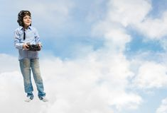 Boy dreams of becoming a pilot Stock Images
