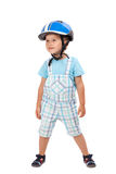 Boy with helmet, posing. Isolated on white Stock Image