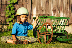 Boy with helmet Royalty Free Stock Image