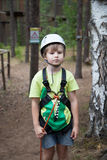 Boy in helmet and travel gear Stock Image