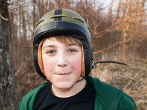 Boy in helmet Stock Images