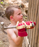 Boy helping build fence Stock Images