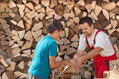 Boy helping his father stacking the firewood. Handing him the pieces stock photo