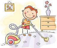 Boy helping his parents with the housework. Little boy helping his parents with the housework vector illustration