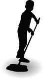 Boy helping in the house and clean the floor with a broom. Silhouette vector illustration