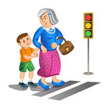 Boy helping old lady cross the street. Vector Royalty Free Stock Image