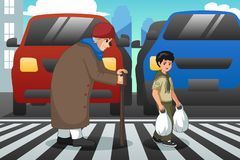 Boy Helping Old Lady Crossing Street Illustration stock photography