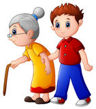 Boy helps old lady and helping her to walk with her cane vector illustration