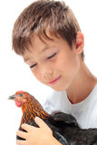 The boy with the hen Royalty Free Stock Photos