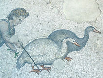 Boy herding geese. Mosaic scene, Great Palace,  in Istanbul, Turkey Stock Image