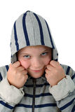 Boy hidden in a hood smiling isolated on white Royalty Free Stock Photos