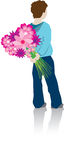 Boy hiding flowers. A coloured lifestyle silhouette of a boy hiding a bunch of flowers Royalty Free Stock Photos