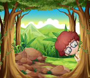 A boy hiding at the forest Stock Photography