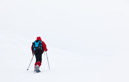 Boy hikes in mountain with snowshoe Stock Photo