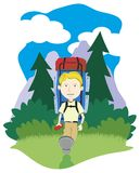 Boy Hiking. Vector illustration of a boy hiking in the mountains Royalty Free Stock Image