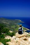 Boy hiking on the Akamas Royalty Free Stock Image