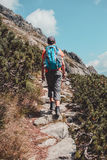 Boy hiking alone in the mountains Stock Photography