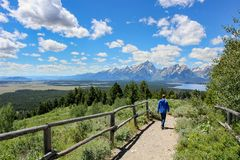 Boy hiking with lake and mountain view. Boy hiking with jackson lake and mount teton view in summer stock image